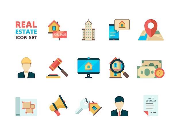 Símbolos de bienes raíces. negocio casa alquiler propiedad casa venta gerente agente inmobiliario propietario edificio seguro plano colección de iconos