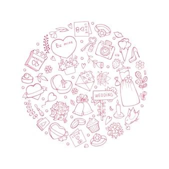 Símbolos de boda en forma de círculo. ilustraciones de boda