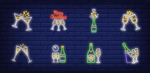 Símbolos de brindis navideños en estilo neón