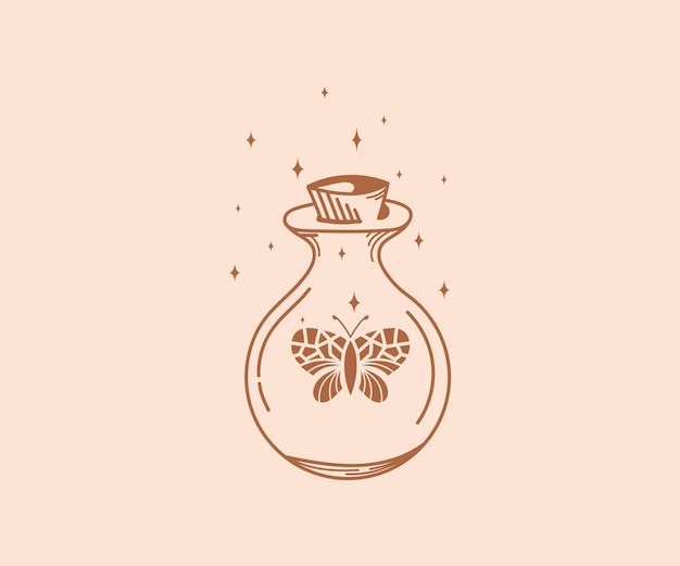 Símbolos de brujas y tarros mágicos con mariposas de cristal estrellas luna serpiente botella de cristal mágica