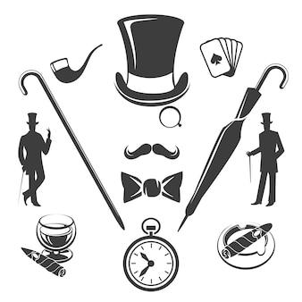 Símbolos de caballeros vintage. moda viejo hipster, gafas y sombrero, ilustración vectorial