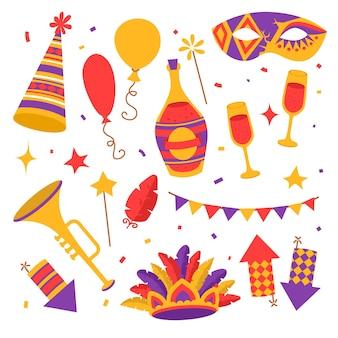 Símbolos de carnaval de color plano, máscara, fuegos artificiales, confeti con banderas, trompeta y botella de champán con gafas, globos con pluma