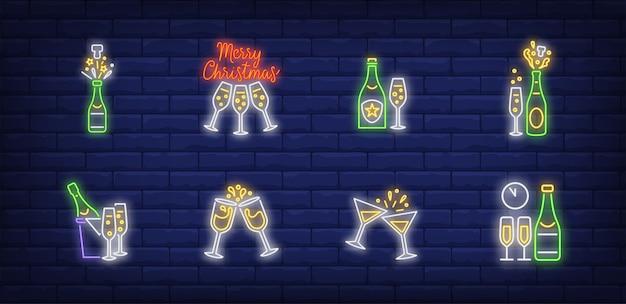 Símbolos de champán navideño en estilo neón