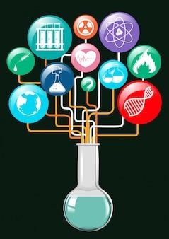 Símbolos de la ciencia y recipiente de vidrio