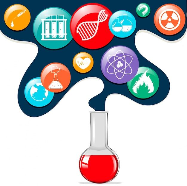 Símbolos de la ciencia y vaso de vidrio