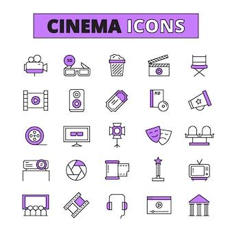 Símbolos de cine delineado conjunto de iconos