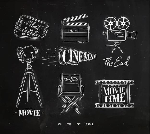 Símbolos de cine tiza