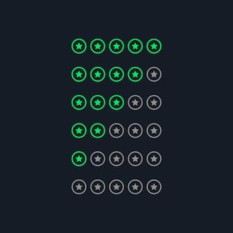 Símbolos de clasificación de estrellas de estilo de neón verde creativo