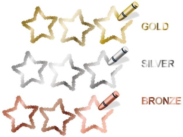 Símbolos de clasificación de tres estrellas de crayón de vector en oro