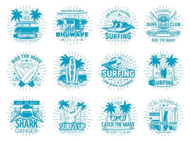 Símbolos del club de surfistas con tabla de surf