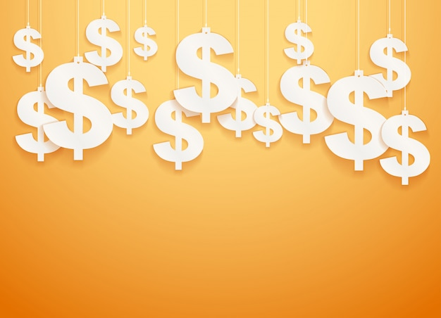 Símbolos colgados dólar.