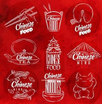 Símbolos de comida china roja