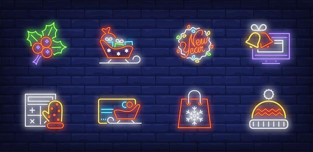 Símbolos de compras navideñas en estilo neón