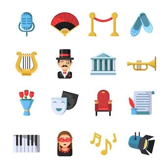 Símbolos de la cultura máscaras y otros conjunto de iconos de teatro