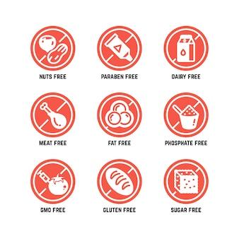 Símbolos dietéticos de alimentos, sin omg, sin gluten, sin azúcar y conjunto de iconos de alergia