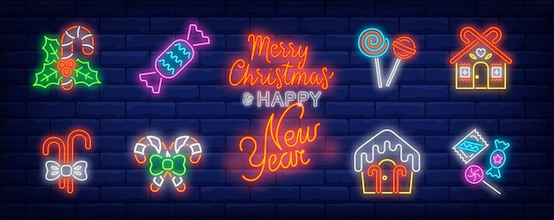 Símbolos de dulces navideños en estilo neón