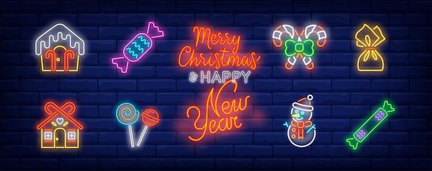 Símbolos de dulces navideños en estilo neón vector gratuito