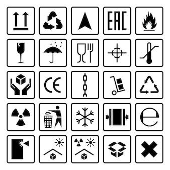 Símbolos de embalaje. envío de señales de carga frágil, inflamable congelado, este lado hacia arriba, manipúlelo con cuidado, use los iconos en la caja de cartón del paquete, conjunto de vectores de pegatinas