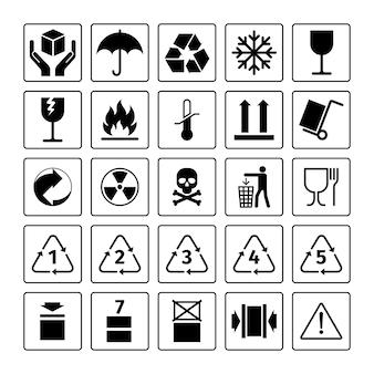 Símbolos de embalaje. iconos de paquete de vector con reciclaje de residuos y símbolos frágiles, inflamables y de este lado hacia arriba