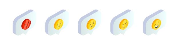 Símbolos de emoji de sonrisa isométrica en conjunto de burbujas de discurso. iconos de retroalimentación de redes sociales 3d