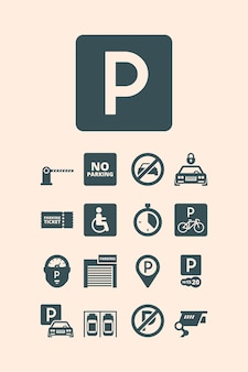 Símbolos de estacionamiento. garaje pagado, estacionamiento de automóviles, bicicletas, autobuses, sistemas de estacionamiento automático establecidos.