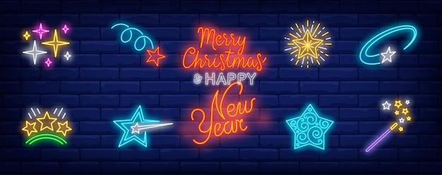 Símbolos de estrellas navideñas en estilo neón