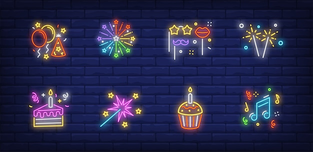 Símbolos de fiesta de navidad en colección de estilo neón
