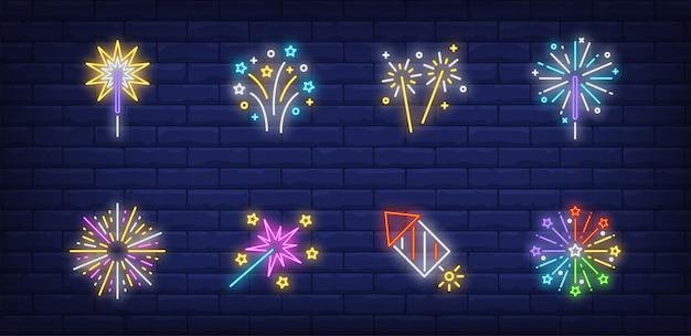 Símbolos de fuegos artificiales en estilo neón