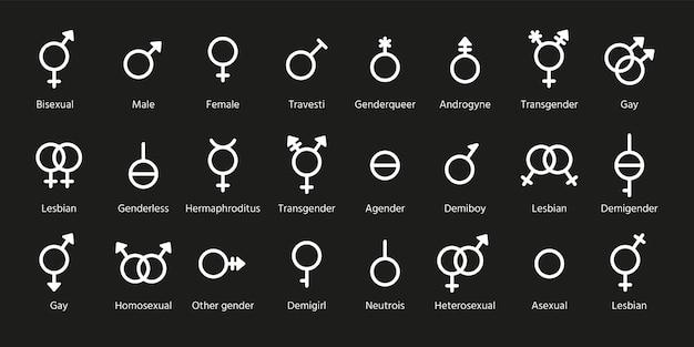 Símbolos de género. señales de contorno de orientación sexual. establecer marcas masculinas y femeninas
