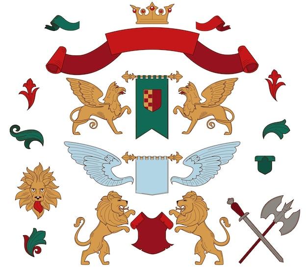 Los símbolos de la heráldica y las mascotas reales aislaron los iconos del vector cintas de seda y la bandera de la corona de oro con escudo griphone y león ala angelical espada y hacha caballero arma animales simbólicos y decoración del castillo