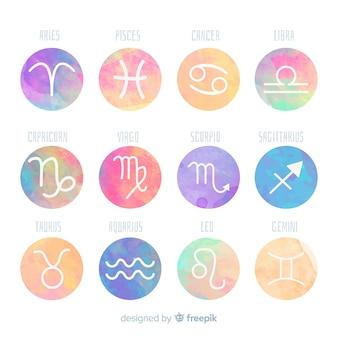 Símbolos del horóscopo en acuarela