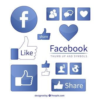 Símbolos de iconos de facebook