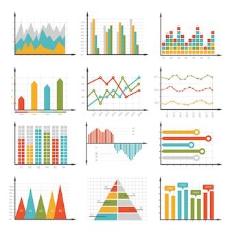 Símbolos de infografía. conjunto de gráficos y diagramas de negocios