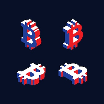 Símbolos isométricos de la criptomoneda bitcoin en estilo geométrico en 3d con colores rojo, azul y blanco