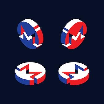 Símbolos isométricos de la criptomoneda monero en estilo geométrico en 3d con colores rojo, azul y blanco.