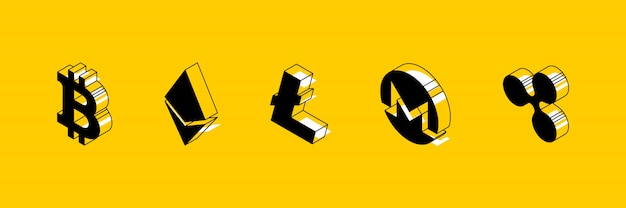 Símbolos isométricos de diferentes criptomonedas en amarillo
