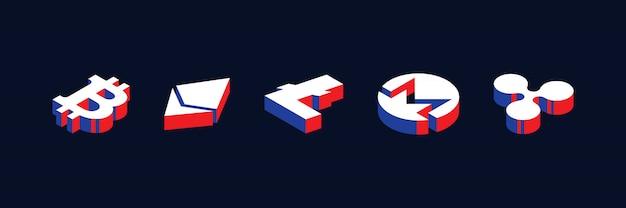 Símbolos isométricos de varias criptomonedas en estilo geométrico en 3d con colores rojo, azul y blanco.