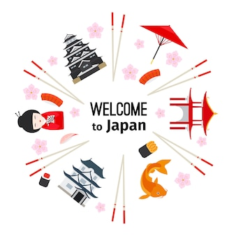 Símbolos japoneses emblema redondo