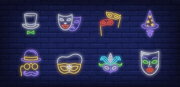 Símbolos de máscaras festivas en estilo neón