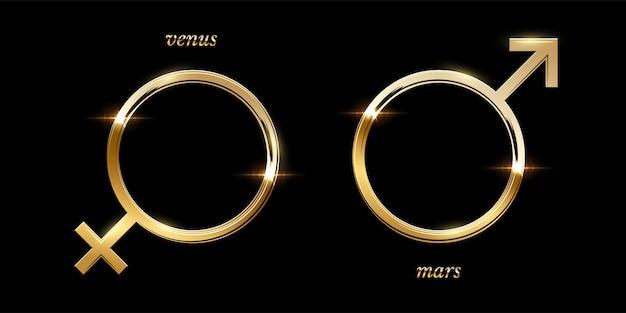 Símbolos masculinos y femeninos dorados, marcos redondos brillantes de lujo aislados