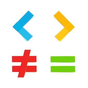 Símbolos matemáticos básicos iguales menos grandes