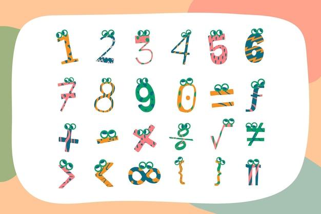 Símbolos matemáticos dibujados a mano ilustrados