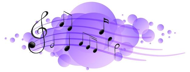 Símbolos de melodía musical en mancha púrpura