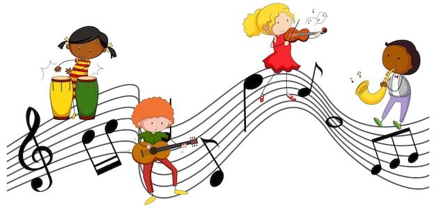 Símbolos de melodía musical con muchos personajes de dibujos animados de niños doodle