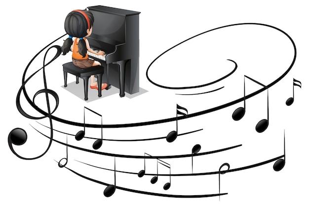 Símbolos de melodía musical con una niña tocando el piano aislado