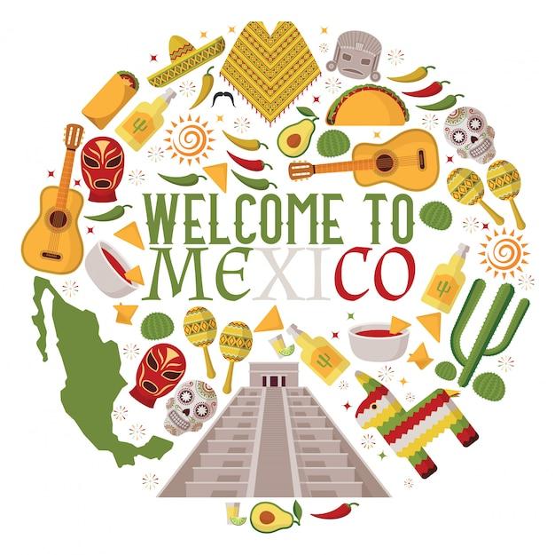 Símbolos mexicanos en composición de marco redondo