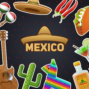 Símbolos mexicanos y sombrero chili taco tequila fondo