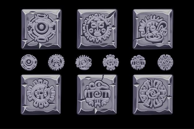 Símbolos de la mitología mexicana antigua aislados en el cuadrado de piedra.