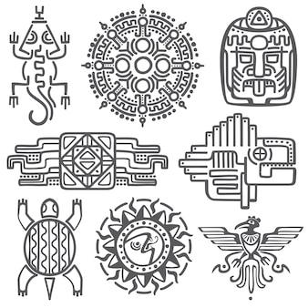 Símbolos de la mitología del vector mexicano antiguo