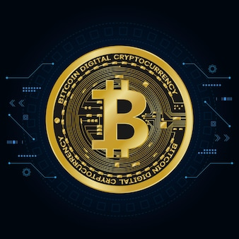 Símbolos de moneda digital bitcoin oro, dinero digital futurista,
